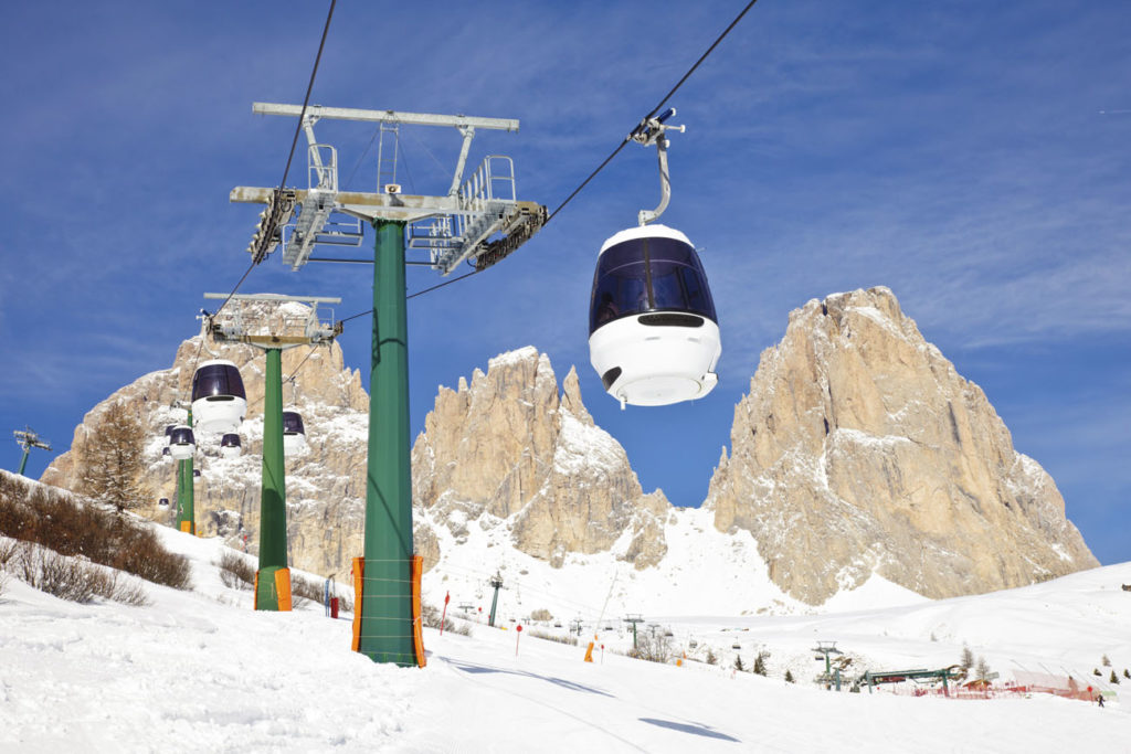 Monocable gondola lift at Val Di Fassa ski resort in Italy